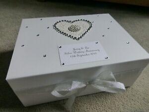 Large Wedding Keepsake Box Personalised Memory Box Diamante Silver Wedding ***