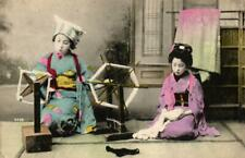 More details for japan traditional geisha girls interior spinning wool tinted postcard c1915