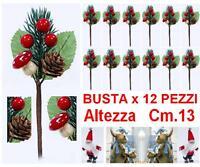 BUSTA N.12 PIC DECORO ALBERO NATALE H.13 con PIGNE FUNGHI PINO BACCHE ROSSE 9584