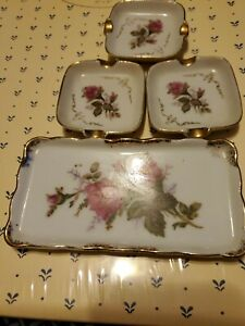 Vintage Royal Sealy 4 Piece Set - Moss Rose - 3 Ashtrays  One Small Tray Japan
