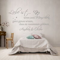 Wandtattoo Wandaufkleber Schlafzimmer Spruch   Liebe wenn zwei Menschen...