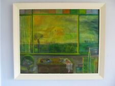 Original Vintage Abstract Oil Painting Vivienne Foster Listed Artist's Window