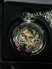 Pewter Scottish Celtic Thistle knot Pocket watch by A.E.Williams mechanical wind