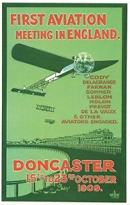 Aircraft Postcard Repro Poster 1909 First Aviation Meeting England Doncaster OG8