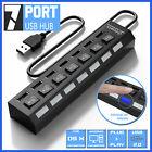 7 Port USB 2.0 Hub Splitter Multi Adapter High Speed For PC Mac Desktop Laptop