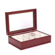 American Chest The COMMANDER Ten Watch Glass Top Storage Box Case Mahogany New