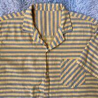 Vintage 50s Yellow Horizontal Stripe Short Sleeve Shirt 15 S/M Rockabilly Pocket