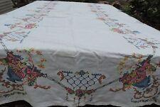 "EXQUISITE Vintage Linen Hand Cross Stitched Tablecloth Orchids 97"" x 65 1/2"""