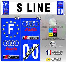 """Stickers Plaque D'immatriculation Car Logo """"Audi S Line"""" - 4 pièces 45x100 mm"""