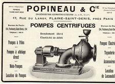 POPINEAU POMPES CENTRIGUGES PLAINE SAINT DENIS PUB PUBLICITE 1914 FRENCH AD