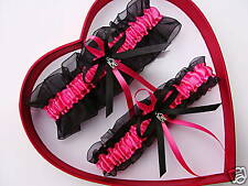 Hot Pink / Black - Bridal Wedding Garter