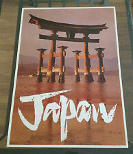 Vintage Travel Poster 1960's Looart #905 Japan Gate Shinto Shrine Miyajima 60's