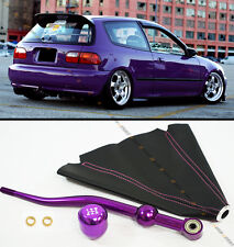 FOR 90-01 ACURA INTEGRA PURPLE DUAL BEND SHORT SHIFTER+ SHIFT KNOB+ LEATHER BOOT