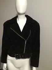 Vintage Contempo Casuals 80's 90's Suede Leather Moto Motorcycle Jacket Small