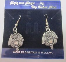 Myth & Magic Tudor Mint Fantasy Pewter Figure Dragon Double Vtg Crystal NOS