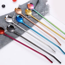 Stainless Steel Long Drinking Straw Spoon Tea Coffee Kitchen Party Accessory New