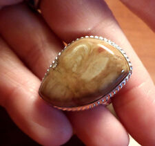New JASPER AGATE Ring SZ 8 Pear Beige Red Cabochon 925 Silver Decorative setting