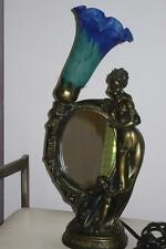 Vintage French Art Nouveau Lady Glass Lamp  Mirror Figurine mother & Cherub boy