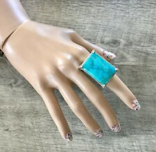 Lois Hill Ring Sterling Turquoise Statement Sz 6.5