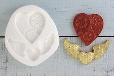 Stampo in silicone, Steampunk Cuore, ali cuore, la sicurezza degli alimenti ellam Sugarcraft, M093