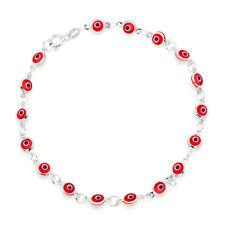 "Red Evil Eye Beads on 925 Sterling Silver Bracelet 7.5"""