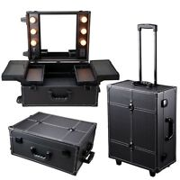 New Studio Cosmetic Makeup Show Artist Barber Travel Rolling Case Light Trolley