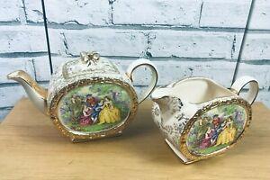 Vintage 1930s Sadler Barrel Gilded Teapot & Jug Courting Couples