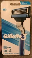 Gillette 3 Aqua-Grip 1 Razor Handle 2 Cartridges