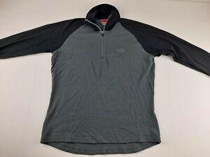 Icebreaker Bodyfit 260 Men M Grey Black Merino Wool 1/4 Zip Base Layer Sweater