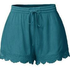 Womens Ladies Elastic Waist Drawstring Lace Hem Beach Shorts Hot Pants Plus Size