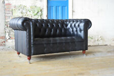 CLASSIC HANDMADE 2 SEATER  BLACK VINTAGE DISTRESSED LEATHER  CHESTERFIELD SOFA