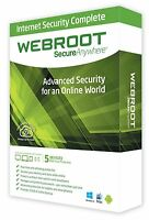 Webroot SecureAnywhere Internet Security 1 Anno 3 PC Windows / Mac Key Digital
