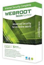 Webroot SecureAnywhere Internet Security 1 ANNO x 5PC Windows/Mac 100% Originale