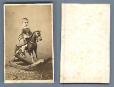 Garçonnet sur son cheval à bascule Vintage CDV albumen carte de visite