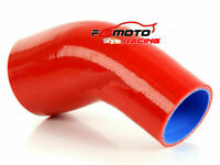 """Silicone Reducer Turbo Hose Elbows Tube pipe 45 Degree 63mm-70mm 2.5""""-2.75"""" red"""