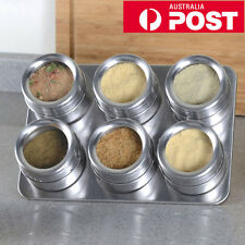 AU Stainless Steel Magnetic Spice Rack Herb Pot Jar Kitchen Storage Holder Stand