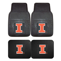 University of Illinois 2pc & 4pc Mat Sets-Heavy Duty-Cars,Trucks,SUVs