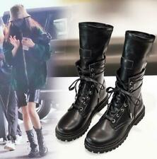 Ladies Womens Combat Army Military Mid Calf Flat Ankle Boots Lace Up Biker Zip