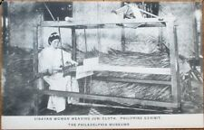 Philippine Islands Visayan Woman Weaving Jusi Cloth 1910 Postcard-Museum Exhibit