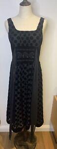Black Sleeveless Dress Velvet Polka Dot Waist Tie Beaded Retro Size Small / 10