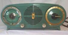 Vintage Zenith Green Owl Eye Tube Radio Alarm Clock Model K518 untested parts