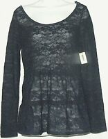 NWT Aeropostale Women's Top Size M Navy Blue Sheer Lace Tiers Tunic Detailed NEW