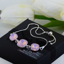 925 Silver Adjustable Bracelet 10&12mm Rose Water Opal Crystals from Swarovski®