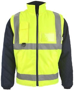 Hi Visibility Reversible Body Warmer Reversible Detachable Sleeve Yellow 7 Sizes