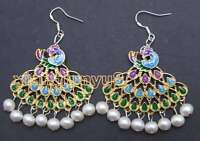 SALE 40mm Multicolor Peafowl Pendant and 6-7mm Round pearl dangle earring-ea422