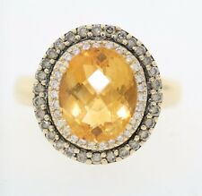 Le Vian 14k Yellow Gold 5.0ct Oval Citrine & .50ct Diamond Halo Cocktail Ring