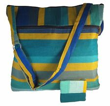 Green Blue Yellow Striped Messenger Beach Tote Crossbody Sling Bag Handbag Purse