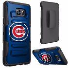 For [Samsung Phone Models] Dual Layer Hybrid Holster Case Black  Chicago Cubs