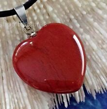 Red Jasper Gemstone Heart Necklace Genuine Leather - Dreams Protection