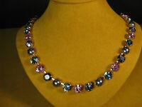 MARIANA NECKLACE SWAROVSKI GRAY BLUE PINK CRYSTALS PEARL ROSE GOLD MOSAIC Multi
